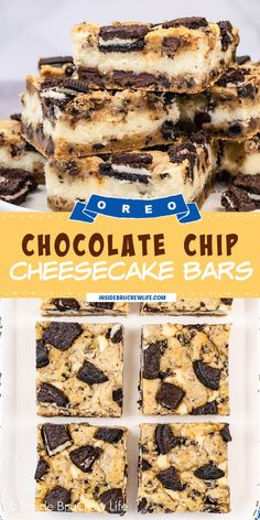 Oreo Chocolate Chip Cheesecake Bars - creamy cheesecake baked between layers Oreo chocolate chip cookie dough makes these dessert bars so good. Easy cheesecake bars recipe to make for parties and events. Oreo Bars, Chocolate Chip Cookie Cheesecake, Brownie Oreo Cookie, Homemade Cheesecake, Cheesecake Cookies, Cheesecake Recipes, Best Dessert Recipes, Fun Desserts, Delicious Desserts