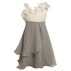 Amazon.com: Bonnie Jean TWEEN GIRLS 7-16 SILVER ASYMMETRIC ONE-SHOULDER CASCADE RUFFLE CHIFFON Special Occasion Wedding Flower Girl Party Dress: Clothing