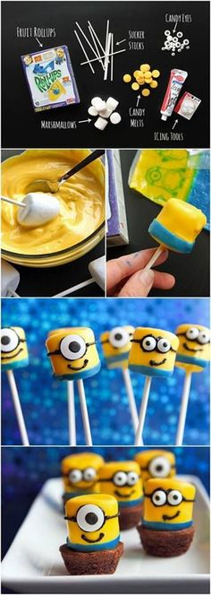 Minions Marshmallow! INstead of fruit rollup id use some other things but SOOO CUTE