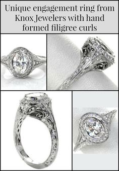 With the crisp tone of 950 Platinum Ruthenium and a bold look of a 1.00 carat oval cut center diamond,This engagement ringshows details from every angle. Elements of hand formed filigree curls, relief hand engraving and bead set side diamonds are seamlessly joined with a prominent halo.