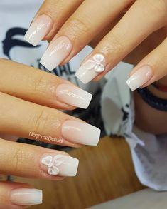 White French Tip, Sassy Nails, Flower Nails, White Nails, Nail Arts, Diy Nails, Wedding Nails, How To Do Nails, Pretty Nails