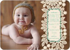 KNIT LACE #baby #birth #announcement