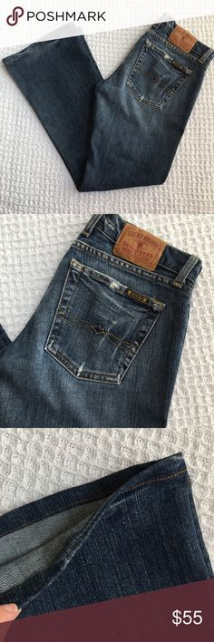 "Lucky Brand Lil Maggie Jeans Brand: Lucky Brand  Condition: Good, distressing is intentional  Size: 27 (PLEASE READ MEASUREMENTS BELOW!)  Material: 96% cotton, 4% lycra  Measurements: 15"" across waist, 6.75"" rise, HEMMED to 26.5"" inseam, 9"" across ankle opening. Lucky Brand Jeans Boot Cut"