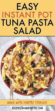 This easy Instant Pot Tuna Pasta Salad is a quick pantry recipe that is nutritious, satisfying & full of flavor. It is inexpensive to make, uses canned tuna, other canned & dried pantry staple ingredients you already have! This Tuna Pasta Salad recipe has no mayo and is perfect for quick dinners, make ahead lunchboxes, for weekly meal prep, potlucks & picnics. #instantpot #instantpotrecipes #tunapastasalad #tunapastarecipes #tuna #pasta #pastasalad #tunapastasaladcold Best Instant Pot Recipe, Instant Pot Dinner Recipes, Seafood Recipes, Appetizer Recipes, Pantry Recipe, Vegan Recipes Easy, Meal Recipes, Lunch Recipes, Pasta Recipes