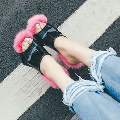 Summer High Heel Fur Women Slipper Indoor Outdoor Shoes -SLP258