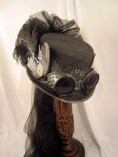 Steampunk Gun Metal Riding Hat with Goggles and Wings with Netting- Jillie Kat Hats