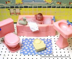 "Beautiful 1946 Fragile Bathroom Set Vintage Renwal Dollhouse Furniture 3 4"" | eBay"