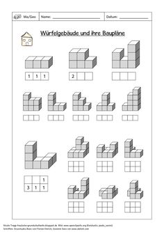 Seite 1 Montessori, Cube Pattern, Pattern Blocks, Orthographic Drawing, Primary Maths, Brain Teasers, Math Lessons, Worksheets, Coding
