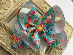Excited to share this item from my #etsy shop: Hair Bows Large Hair Bows Large Floral Bow Girls Hair Bows Blue Hair Bow Big Hair Bow Big Bow Huge Bow Lily Pulitzer Inspired Big Bow