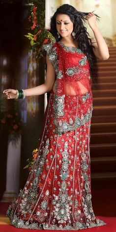 Glowing Red Bridal Lehnga Saree