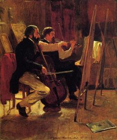 """"""" The Studio Winslow Homer (American, Oil on canvas. Metropolitan Museum of Art. Homer's The Studio depicts an artist's studio with its musical performance which illuminates the type of extracurricular events that took. American Art, Classic Art, Winslow Homer, Artist Studio, Metropolitan Museum Of Art, Painting, Winslow Homer Paintings, Musical Art, American Artists"""