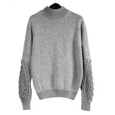 Cotton Women Sweater, loose, Solid, grey, Size:Free Size - yyw.com