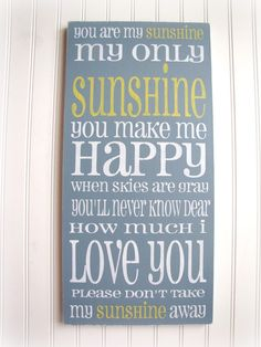 Items similar to You Are My Sunshine Shabby Chic Typography Sign-Charcoal Gray Yellow-Grey on Etsy Just In Case, Just For You, Love You, My Love, Sing To Me, Me Me Me Song, For Elise, You Make Me Happy, Diy Décoration