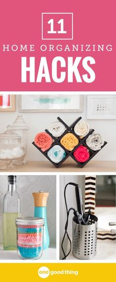 When it comes to organization, it pays to be resourceful! Channel your inner MacGyver with these 11 organization hacks using everyday kitchen items. #homeorganization #tipsandtricks #organizationhacks
