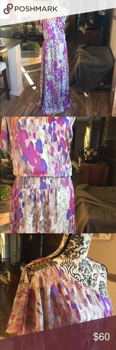 Jessica Simpson 1 Shoulder Drop Waist Maxi Dress Size 14. Jessica Simpson. Lined. Pink and purple. Elastic drop Waist. Shoulder accent. Jessica Simpson Dresses Maxi