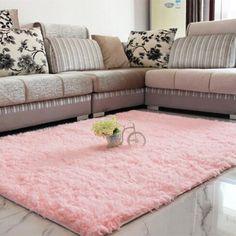 Fluffy Rugs Anti-Skid Shaggy Area Rug Dining Room Home Bedroom Carpet Floor Mat (Pink) Bedroom Carpet, Living Room Carpet, Rugs In Living Room, Home Bedroom, Carpet For Bedrooms, Bedroom Rugs, Nursery Rugs, Soft Flooring, Carpet Flooring