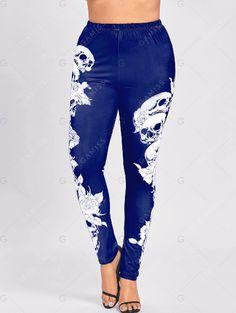 Plus Size Monochrome Skull Leggings - Blue - XL