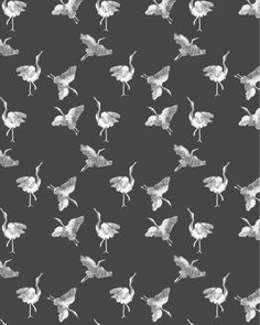 "Alja Horvat Illustrations (@chotnelle) on Instagram: ""I normally don't draw animals, but I felt a need to paint these cranes and turn them into a pattern…"""
