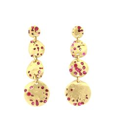Polly Wales Crystal Ruby Triple Disc Earrings - 18K Ruby Triple Disc Earrings. Shop online at www.earthworkslosaltos.com. FREE SHIPPING!