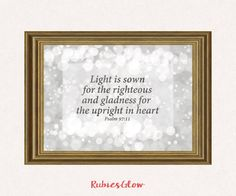 Psalm 97:11 Light is sown - Bible quote verse - Bible decor - Bokeh effects in silver - Printable Wall Art - Instant download - Digital Art