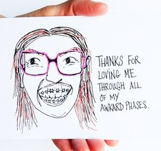 Funny Father's Day Card, For Dad, Happy Father's Day Card, Thanks for loving me through all my awkward phases, Paper Goods, Cards,Blank on Etsy, $4.00