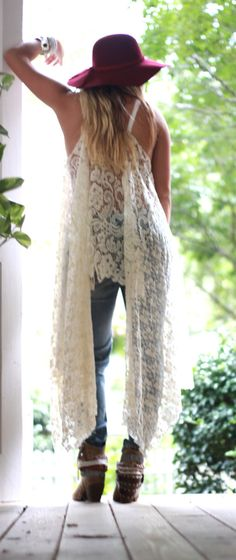 Gypsy Tunic Dress, Bohemian dresses, Magnolia lace, Pearl tunic, Boho dresses, Stevie Nicks Style, Vagabond wanderer, Romantic, True Rebel clothing, One size   This is one of my all time favorite pieces. Lace, crochet and more lace!!! This tunic can be worn with a bandeau, and jeans, shorts, or a maxi skirt. The sides are super long flowing, the middle i tunic length. you can wear it as a poncho, there are tiny slits in the lace to accommodate for arm freedom, or wear it as a tank tunic…