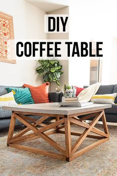 LOve this easy DIY coffee table! It is the perfect square coffee table with a great modern farmhouse look. They also have the woodworking plans for this unique designer inspired piece that you can build on a budget! Woodworking Furniture Plans, Wood Pallet Furniture, Easy Woodworking Projects, Furniture Projects, Diy Furniture, Woodworking Tools, Wood Projects, Youtube Woodworking, Woodworking Workshop