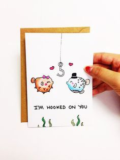 Funny anniversary card for boyfriend, Funny love card for wife, boyfriend card, cute love card for girlfriend, I\'m hooked on you, pun card