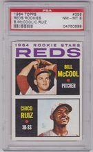 1964 Topps Baseball #356 Reds Rookies Bill McCool Chico Ruiz PSA 8