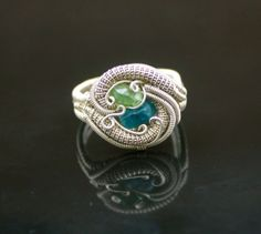wire wrap Green Garnet silver and gold fall Statement ring
