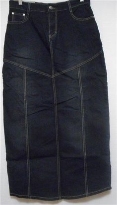 LONG DENIM SKIRT- WOMENS DENIM SKIRTS- MODEST JEANS Black Size 30 32 34 36 38 40 #Handmade #ALine