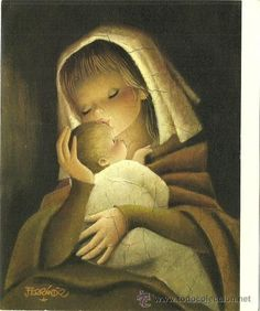 Madonna and Child . Vintage illustration by Juan Ferrandiz kis her kid 🌟 Religious Pictures, Religious Art, Christmas Nativity, Christmas Art, Mother Mary, Mother And Child, Christmas Greetings Christian, Image Jesus, The Nativity Story