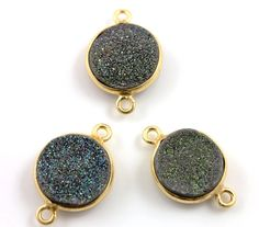 Raw Green Druzy Crystal Cluster Bezel Coin Component by Beadspoint, $6.99