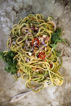 Thai Zucchini Noodle Salad by Heather Christo.