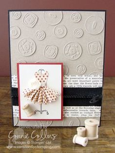 Sweet Buttons embosslits cut from Crumb Cake CS and applied to a matching CS base make this card look like it has been embossed with an embossing folder