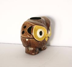 Painted Ceramic Owl Shadow Lantern by KleinDesignVintage on Etsy