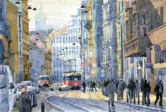"""CityScapes 2013 Art Exhibition - 10th Place – Overall – Yuriy Shevchuk – """"Prague Vodickova Street"""" - Born in 1961 in Kiev, Ukraine, Yuri Shevchuk attended the Kiev Art School and later the prestigious Kiev Architectural Academy. Yuriy has adopted the practice of recording his own experiences in his artworks: his three passions, painting architecture and cityscapes, jazz and historical cars have become the focus of his paintings. Since 1993 he has been living in... http://www.shevchukart.com"""