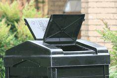 A compost bin made from recycled plastics. #PlasticsInTheGarden