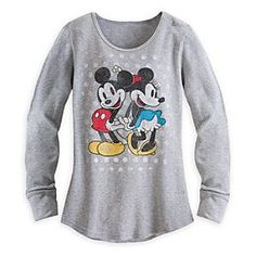 Disney Mickey and Minnie Mouse Long Sleeve Thermal Tee for Women