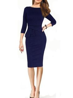 Blue Long Sleeve Peplum Waist Slim Dress