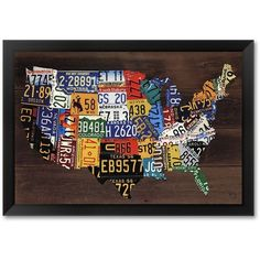 Usa Map II Framed Art Print by Aaron Foster ($144) ❤ liked on Polyvore featuring home, home decor, wall art, black, image plates, horizontal wall art, framed wall art, map home decor and black plates