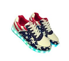 Janeyer Chic Womens Light Up Flat Shoes Contrast Star Printed Nightclub Sneakers Stars US10AU10UK8EUR040CN42CM26 ** See this great product. Note: It's an affiliate link to Amazon