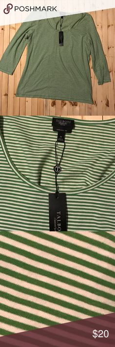 Talbots Green & White Striped Top Super soft tee green & white striped top from Talbots. It's 3/4 sleeves size medium. NWT. Paid $40 but just never wore it! It is super soft though! Perfect for spring! Talbots Tops