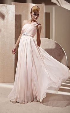 Single Strapped Light Pink Evening Dress Sheath Silhouette