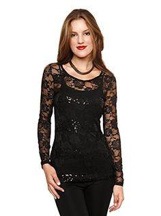 Club LA Women's Sequin Lace Top (Black)