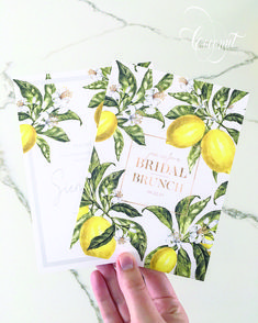 Lemon Print Bridal Shower Invitations by Coconut Press Boutique Design, A Boutique, Lemonade Wedding, Lemon Print, Personalized Stationery, Bridal Shower Invitations, Wedding Events, Shower Ideas, Coconut