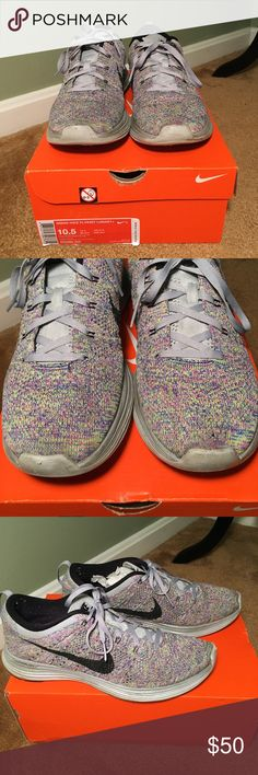 NIKE Women's Flyknit Lunar GOOD CONDITION (small hole in toe) NIKE 'Flyknit Lunar' multicolor tennis shoes  SIZE 10.5 Nike Shoes Athletic Shoes
