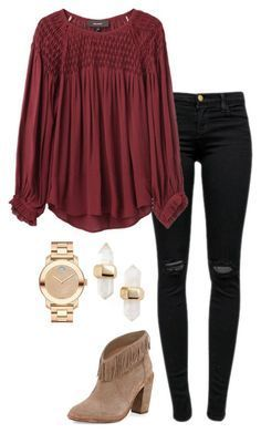 """""""holiday outfit"""" by helenhudson1 ❤ liked on Polyvore featuring Joie, J Brand, Isabel Marant, Kendra Scott and Movado"""