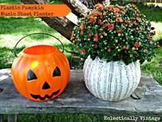 How to turn a plastic pumpkin into a beautiful planter with sheet music and Mod Podge!