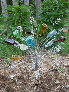 Mini bottles** Garden Art Decoration Bottle Tree Using Recycled Glass Bottles
